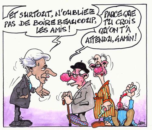 Vignette BD humour Villepin et la canicule