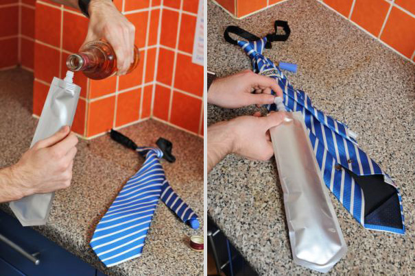 Le flacon intégré à ta cravate Pour tenir en réunion