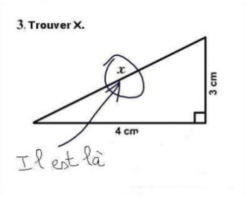 Copies élèves drôles trouver X