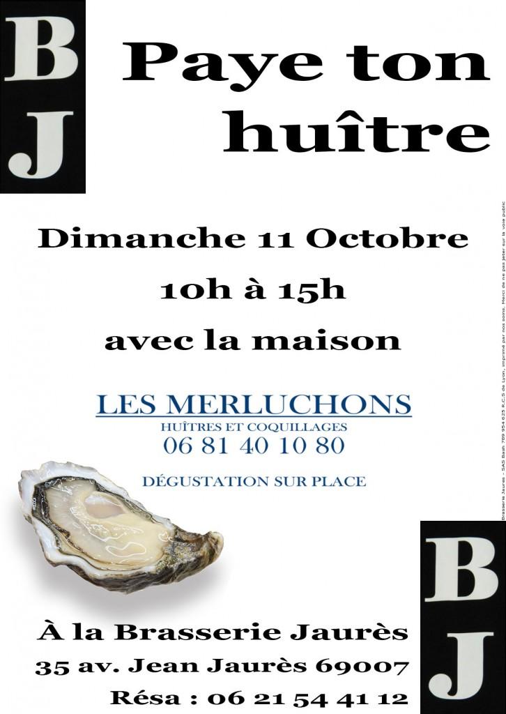 Flyer Apéro huitre Brasserie Jaures